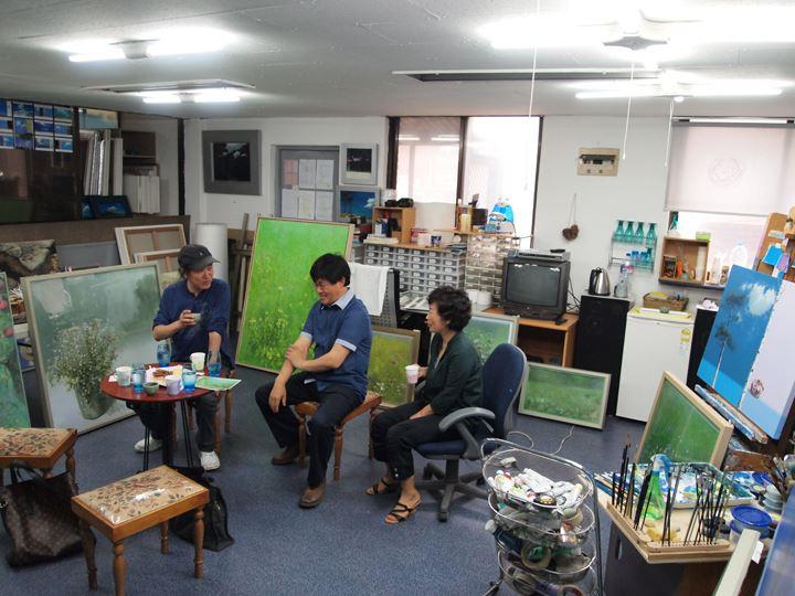 韓国2大巨匠の対談(ソングンアトリエにて)
