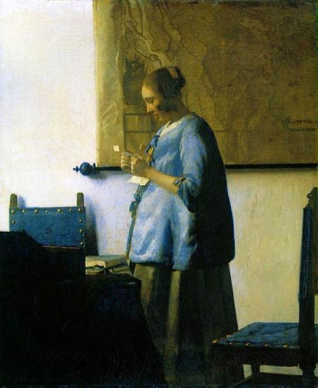 「手紙を読む青衣の女」