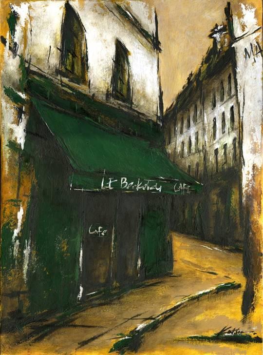 「街角の緑色のひさしのあるカフェ」