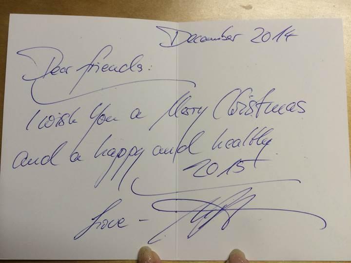 今年届いたウレリトゲン氏のクリスマスカード