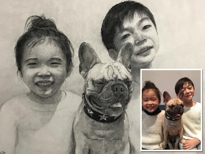 ペット+ご家族の肖像画