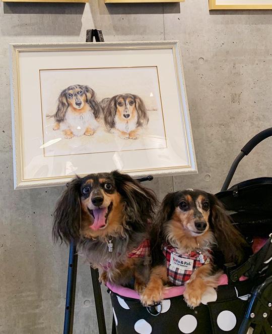 水彩画のペット肖像画、多頭飼いバージョン写真