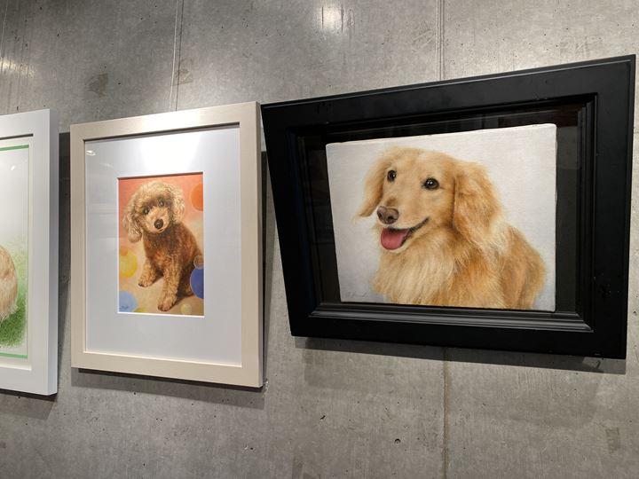 フジムラコンテンポラリーアート内に飾られているペット肖像画作品
